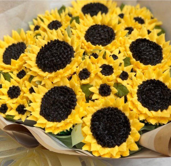buttercream frosting sunflower, how to make buttercream frosting flowers